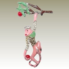Pink Enamel Hanging Monkey Pin Apple Tree