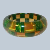 Shultz Bakelite Checkerboard Bangle Apple Juice Marbled Book Value $1400