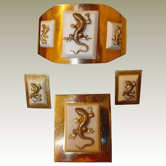 Lizard Set French Galalith Bakelite Cuff/Brooch/Earrings
