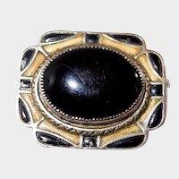 Enameled Art Deco Black/Yellow Abstract Pin