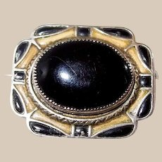 Enameled Art Deco Black/Yellow Abstract Pin