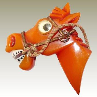 Google Eye Bakelite Horse Head Pin