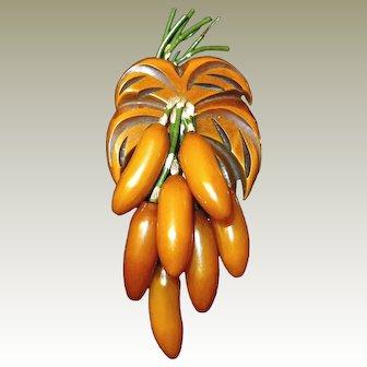 Butterscotch Bakelite Banana Fruit Brooch