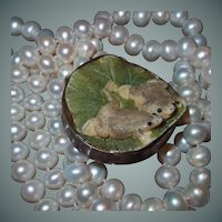 Long Double Strand Natural Pearl Necklace Sterling Clasp Frogs on Lily Pad