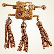 Rare Sandor Tassel Gold Filled Bar Pin