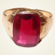 Mens Art Deco Real Ruby Gold Ring