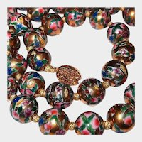 Chinese Porcelain Cherry Blossom Gold Bead Necklace