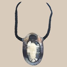 Carved Fossil Face Sterling Silver Alaskan Pendant Necklace