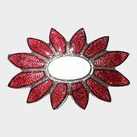 Small Red Enamel Flower Pin