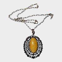Yellow Marble Glass Filigree Pendant Art Nouveau Necklace
