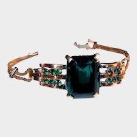 1940s Retro Gold Plate Bracelet, Green Crystal