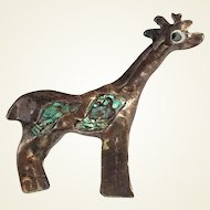 Mexico Giraffe Pin Sterling Silver and Abalone