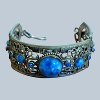 Unusual Wrap Link Art Deco Bracelet Blue Marbled Glass Stones