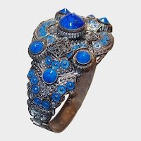 Cobalt Blue Enamel and Rivoli Glass Bracelet Art Deco