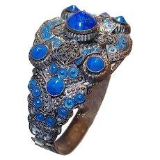Cobalt Blue Enamel and Rivoli Glass Bracelet