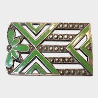 Green Enamel Pot Metal Art Deco Pin