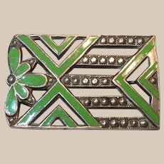 Green Enamel Pot Metal Art Deco Pin