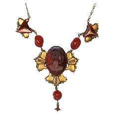 Red Glass Cameo Necklace in Gilded Brass
