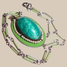 Necklace of Green Glass and Pearls with Enamel Watch Chain
