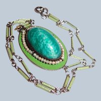 Watch Chain Necklace of Green Glass and Pearls with Enamel