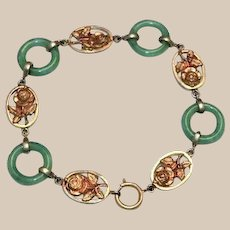 1920s Deco Peking Ring Glass and Rose Link Bracelet