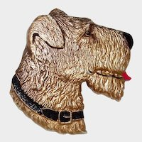Gold Gilt Celluloid Terrier Dog Brooch