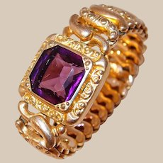 Pitman and Keeler Purple Crystal Rolled Gold Expansion Bracelet