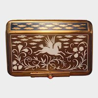 Art Deco Yardley Enamel Flying Pegasus Horse Compact/Carryall