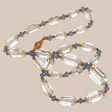 Antique Clear Barrel and Blue Crystal Necklace