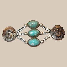 Indian Chief Heads Pin with Glass Turquoise