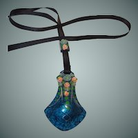 Blue Celluloid Deco Ribbon Pendant Hand Painted with Applied Roses