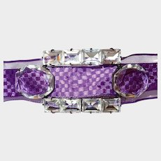 French Art Deco Facet Crystal Belt Buckle