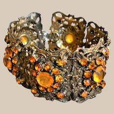 Art Deco Wide Bracelet with Golden Bohemian Glass