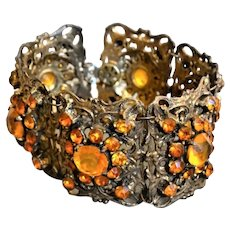 Art Deco Wide Bracelet with Golden Bohemian Glass