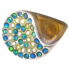 Paved Opal Pearl Ring in Sterling and Gold - Size 6