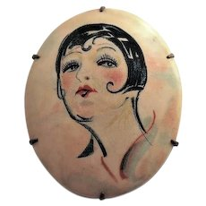 Celluloid Flapper Lady Cameo Style Brooch with Bob Hairdo