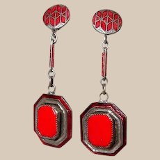 Art Deco Chrome Drop Earrings with Red Glass and Enamel