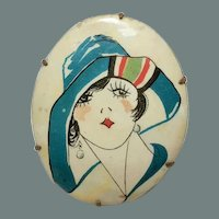 Celluloid Flapper Lady Cameo Style Brooch with Large Hat and Bob Earrings BIG SALE