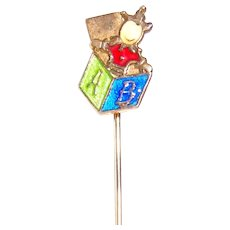 Enamel Jack-in-the-Box Scarf Pin