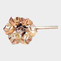 Art Nouveau Tie Pin 10kt Gold Diamond Floral