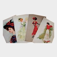 Four Large 1900s Lithograph Women Prints, Golfing/Skating/Political
