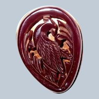 Dark Red Carved Bakelite Bird Clip