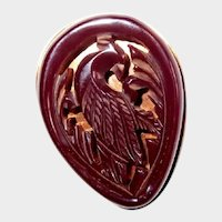 Dark Red Carved Bakelite Bird Clip