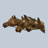 Hand Carved Wooden Racing Horses Brooch