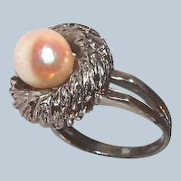 Designer Cultured Pearl Ring Cushion Top Sterling Double Band Last Chance SALE