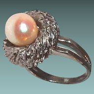 Designer Pearl Ring Cushion Top Sterling Double Band