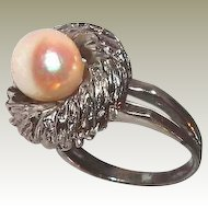 Designer Pearl Ring Cushion Top FINAL REDUCTION SALE Sterling Double Band