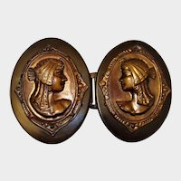 Celluloid 1920 Buckle with Egyptian Revival Stamped Brass