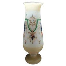 Art Nouveau Estate Hand-Blown Frosted Vase with Hand Painting