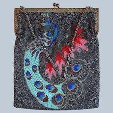 Rare Seed Bead Peacock Two-Sided Handbag